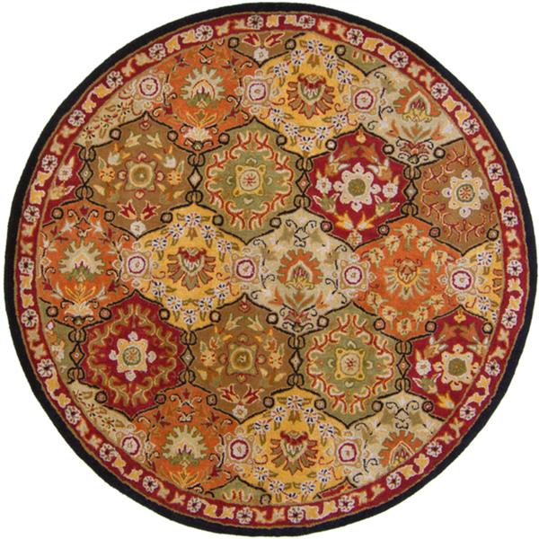 Surya Caesar Traditional Area Rug - 4-ft - Round - Burgundy