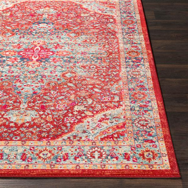Surya Bohemian Updated Traditional Area Rug - 5-ft 3-in x 7-ft 6-in - Rectangular - Bright Red