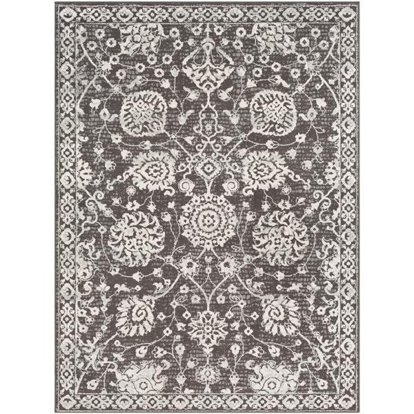 Surya Bahar Updated Traditional Area Rug - 7-ft 10-in x 10-ft 3-in - Rectangular - Charcoal