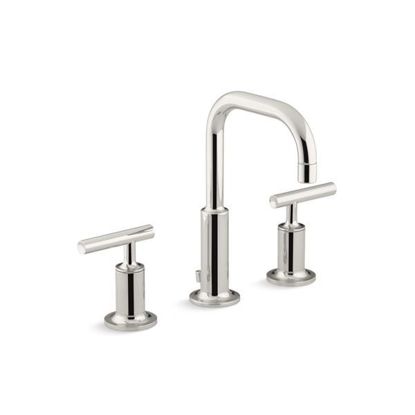KOHLER Purist Widespread Bathroom Sink Faucet with High Gooseneck Spout - Nickel