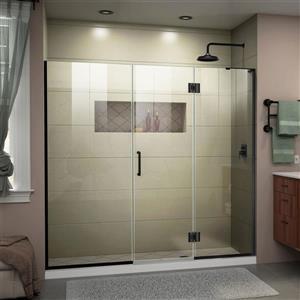 """Porte de baignoire/douche sans cadre DreamLine, 72"""", noir"""