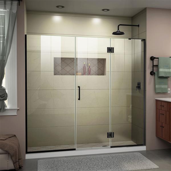 """DreamLine Frameless Hinged Tub/Shower Door - 67"""" - Black"""