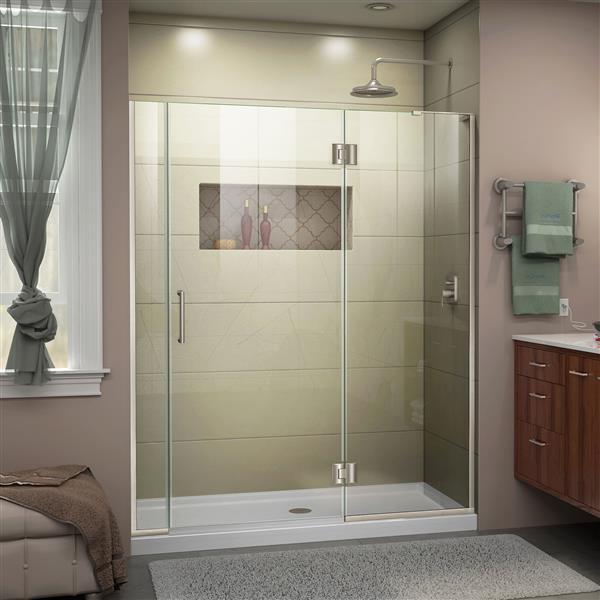 """Porte de douche sans cadre et avec panneau, 59,5"""", nickel"""