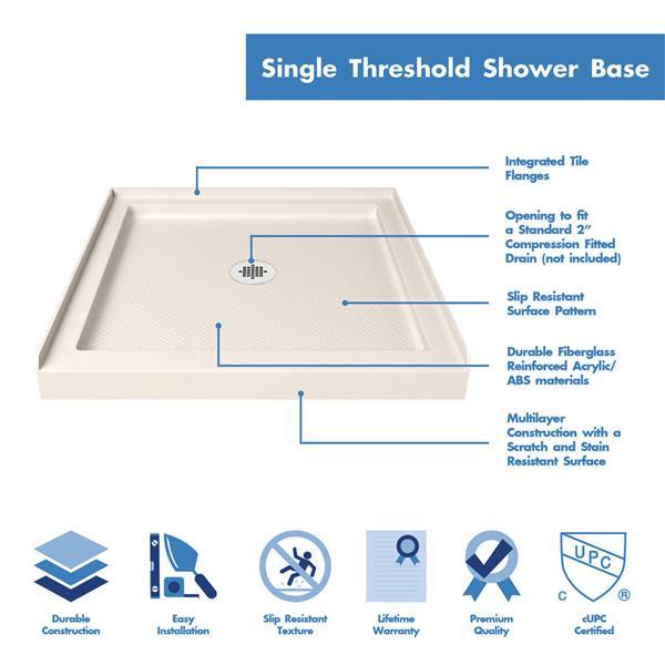 """DreamLine Lumen Semi-Framed Shower Door/Base - 36"""" - Chrome"""