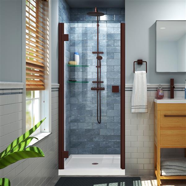 """DreamLine Lumen Shower Door/Base Kit - 36"""" x 36"""" - Bronze"""