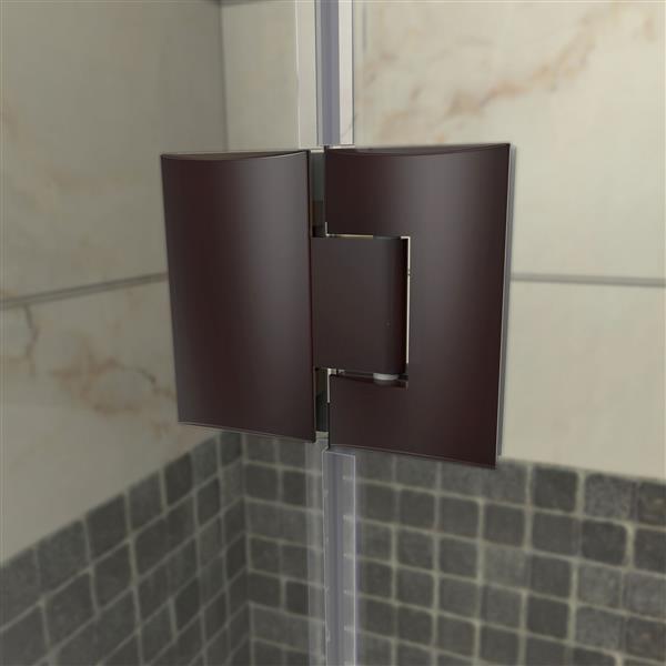 """Porte de douche sans cadre avec 2 panneaux, 56,5"""", bronze"""
