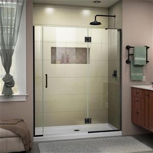 """Porte de douche sans cadre avec 2 panneaux, 55"""", noir"""