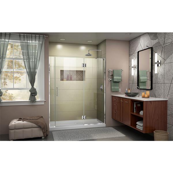 """DreamLine Frameless Hinged Tub/Shower Door - 55"""" - Chrome"""