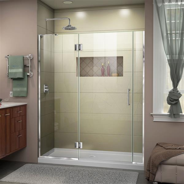 "Dreamline Frameless Shower Door with 2 Panels - 55"" - Chrome"
