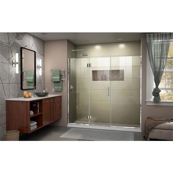 """DreamLine Frameless Shower Door with 2 Panels - 63"""" - Chrome"""