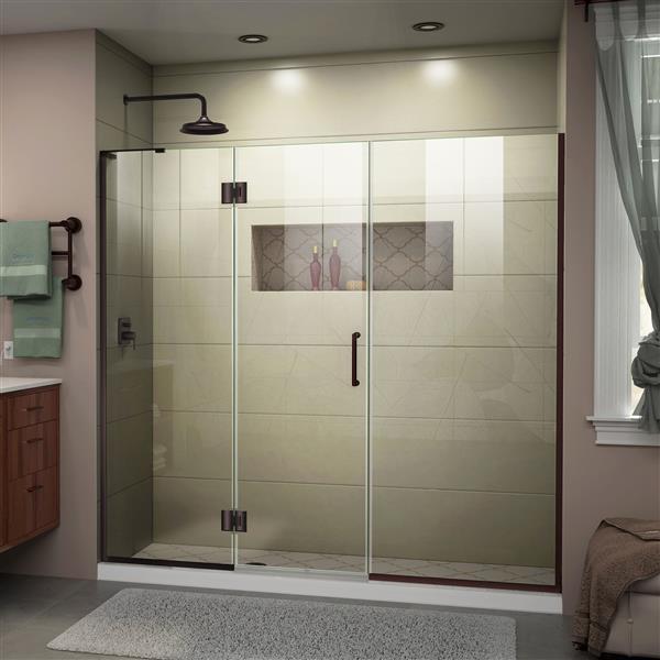 """Porte de douche sans cadre DreamLine, 65,5"""" x 72"""", bronze"""