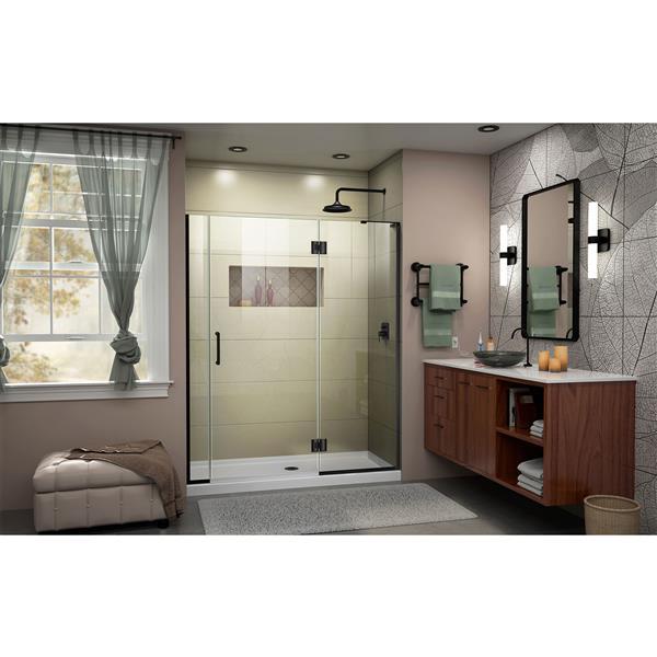 """DreamLine Frameless Hinged Tub/Shower Door - 59"""" - Black"""
