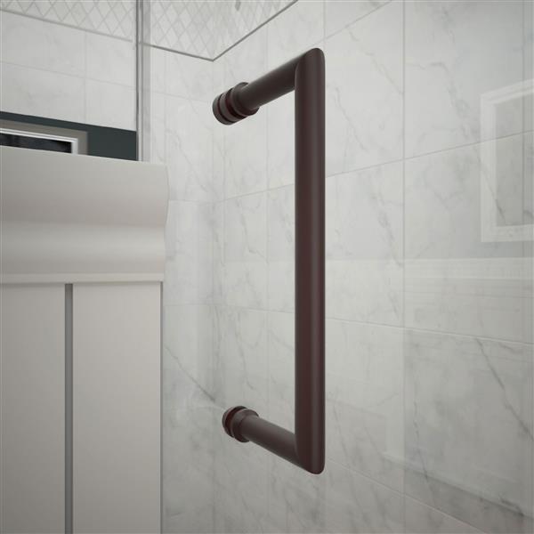 """Porte de douche sans cadre avec 2 panneaux, 64,5"""", bronze"""