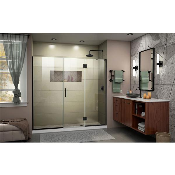 """Porte de baignoire/douche sans cadre DreamLine, 62"""", noir"""