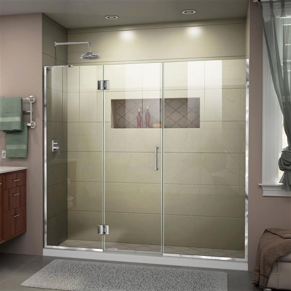 """Porte de douche sans cadre avec 2 panneaux, 72"""", chrome"""