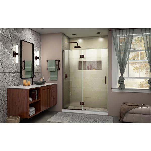 """Porte de douche sans cadre avec 2 panneaux, 50"""", bronze"""