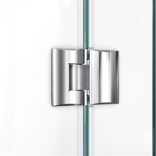 """Porte de douche sans cadre avec 2 panneaux, 64,5"""", chrome"""