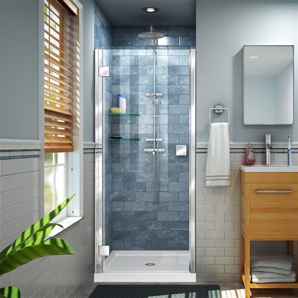 """DreamLine Lumen Shower Door/Base Kit - 34"""" x 42"""" - Chrome"""