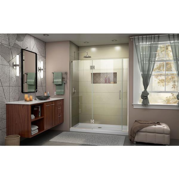 "DreamLine Frameless Hinged Tub/Shower Door - 54"" - Nickel"