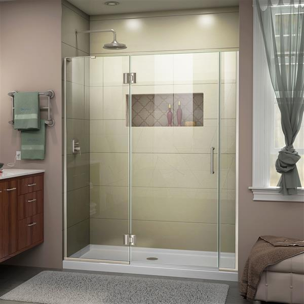 "DreamLine Frameless Shower/Tub Door - 60.5 x 72"" - Nickel"