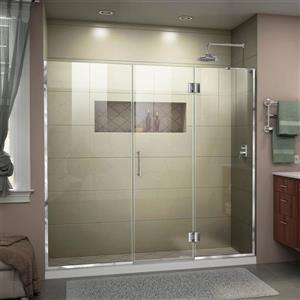 """Porte de douche sans cadre avec 2 panneaux, 63,5"""", chrome"""