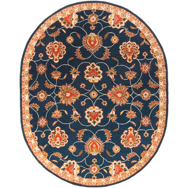Surya Caesar Traditional Area Rug - 6-ft x 9-ft - Oval - Navy