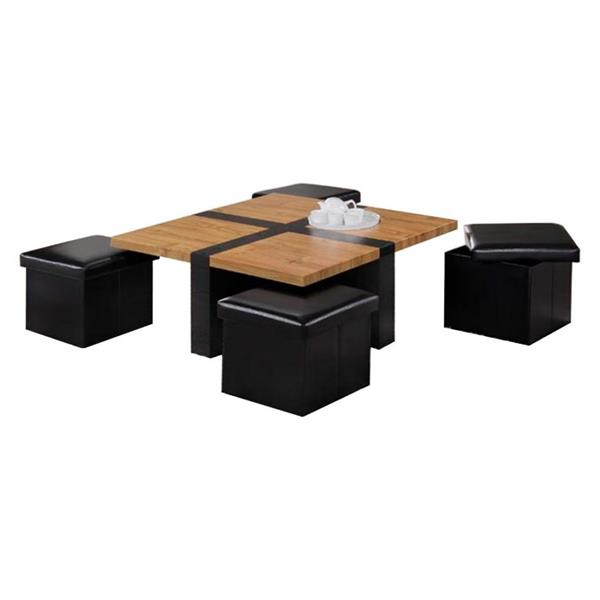 Oakland Living Coffee Table Set 4 Storage Stools Brown Set Of 5 Rona