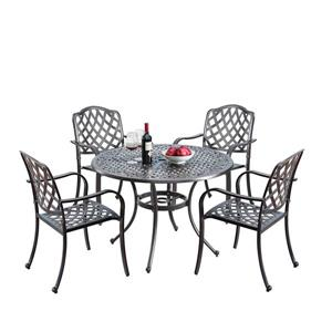 Oakland Living Traditional Outdoor Dining Set - 42-in Round Table - Aluminum - Set of 5