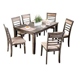Oakland Living Rustic Dining Set - Grey/Brown - Set of 7