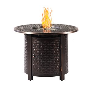Oakland Living Propane Fire Table - 34-in x 24.5-in - 25,000 BTU - Antique Copper