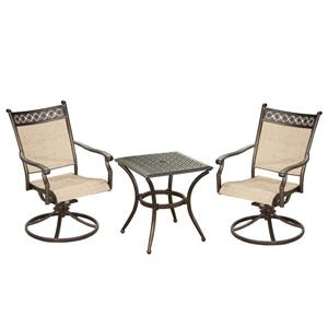 Oakland Living Bali Patio Conversation Set - Swivel Rocking Chairs with End Table - Set of 3