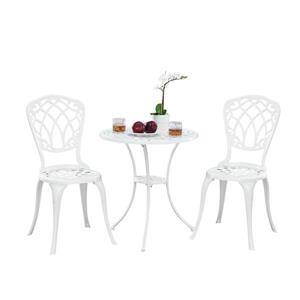 Oakland Living Traditional Bistro Set - White Aluminum - Set of 3