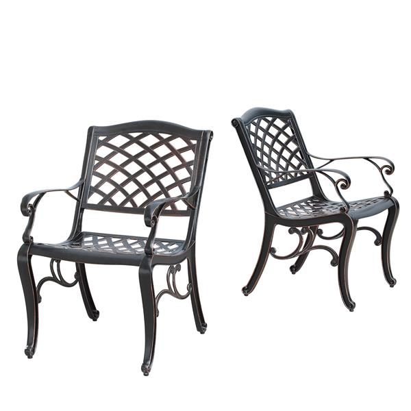 Oakland Living Traditional Outdoor Dining Set - 42-in Round Table - Antique Copper - Set of 5