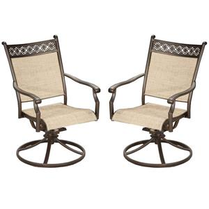 Oakland Living Swivel Patio Chair - 25-in x 38-in - Aluminum - Set of 2