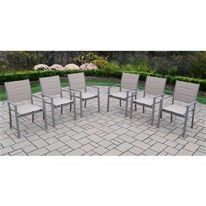 Oakland Living Stackable Patio Chair -  Grey Aluminum - Set of 6