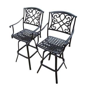 Oakland Living Grace Outdoor Bar Stool - Aluminum - Antique Bronze - Set of 2