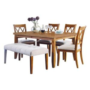 Oakland Living Dining Set - Light Brown - Set of 6