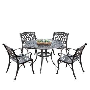 Oakland Living Traditional Outdoor Dining Set - 42-in Round Table - Set of 5