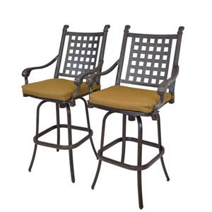 Oakland Living Belmont Outdoor Bar Stool - Sunbrella Cushions - Set of 2