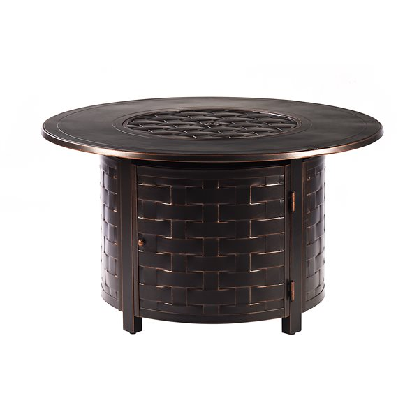 Oakland Living Round Propane Fire Table - 44-in x 24.5-in - 55,000 BTU - Antique Copper