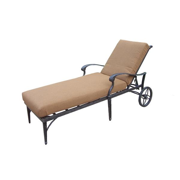 Oakland Living Belmont Chaise Lounge with Wheels - Beige and Bronze
