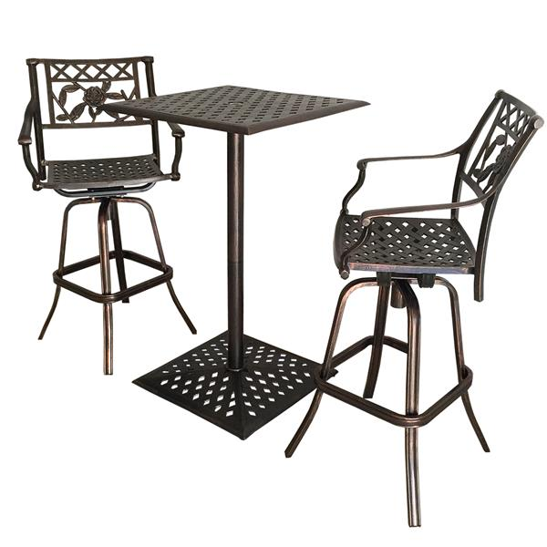 Oakland Living Rose  Outdoor Bistro Set - Antique Bronze - Set of 3