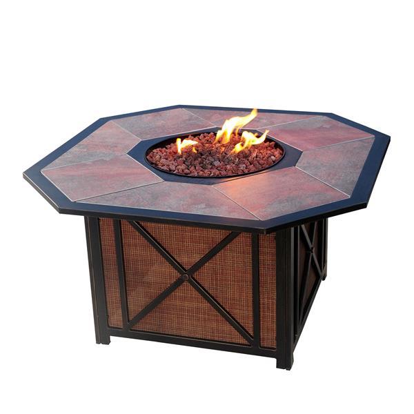 Oakland Living Haywood Octogonal Fire Table - 43-in x 24-in - 40,000 BTU - Antique Bronze