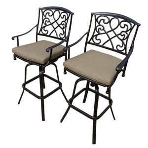 Oakland Living Grace Outdoor Bar Stool - Beige and Antique Bronze - Set of 2