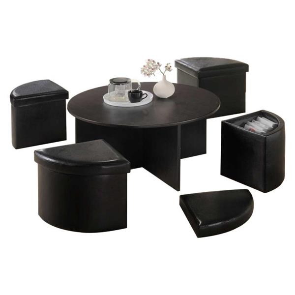 Oakland Living Round Coffee Table Set 4 Storage Stools Brown Set Of 5 Rona