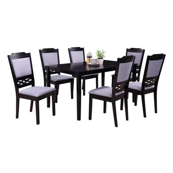 Oakland Living European Dining Set - Black and Grey - Set of 7