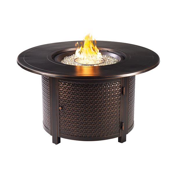 Oakland Living Round Propane Fire Table With Wind Guard 44 In X 24 5 In 55 000 Btu Black Matera Fpt Ac Rona