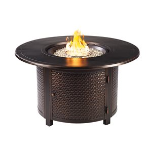 Oakland Living Round Propane Fire Table with Wind Guard - 44-in x 24.5-in - 55,000 BTU - Black