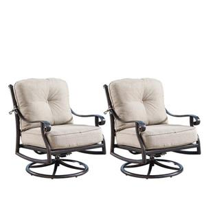 Oakland Living Rocking Patio Chair - 34.2-in x 33.8-in - Light Beige - Set of 2