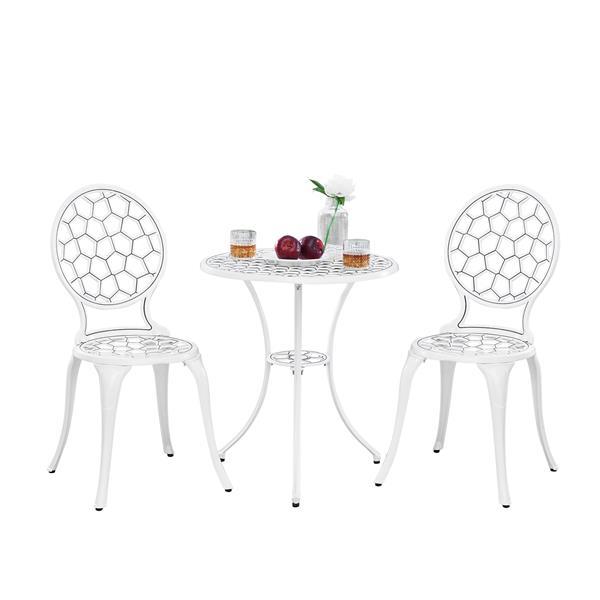 Oakland Living Tmodern Contemporary Bistro Set - White Aluminum - Set of 3